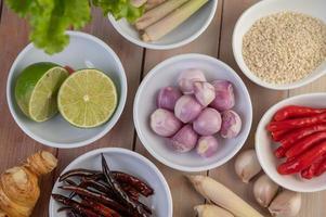 oignons rouges, citron, citronnelle, piments, ail, galanga et laitue