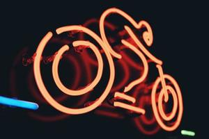 gros plan, de, a, néon, signe vélo photo