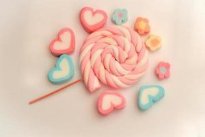 bonbons pastel sur tissu