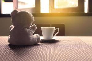 ours en peluche et une tasse de thé photo