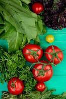 Légumes comme feuilles de menthe verte basilic tomate sur fond vert photo