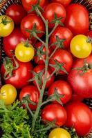 Vue de dessus des légumes comme les tomates et la coriandre dans le panier en arrière-plan photo