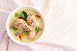 Tom kha kai, soupe de noix de coco thaï sur un chiffon rose