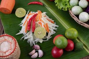 ingrédients frais pour la salade de papaye