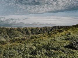 Champ d'herbe verte sous les nuages blancs pendant la journée photo