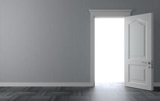 illustration 3d de porte blanche classique photo