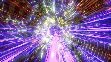 tunnel abstrait doré avec néon lumineux 3d illustration design artwork fond d'écran photo