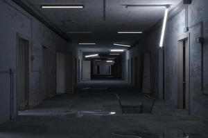 couloir post-industriel d'un bâtiment abandonné