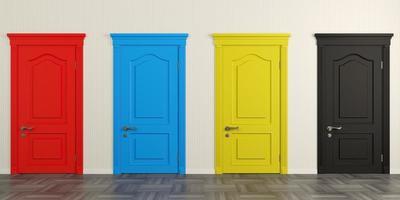 quatre portes colorées sur le mur photo