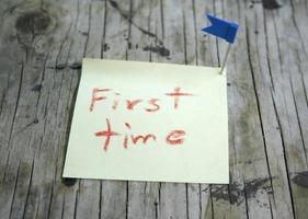 note autocollante pour la première fois photo