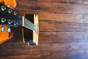 vue de dessus d'une guitare photo