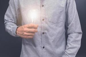 main tenant une ampoule photo