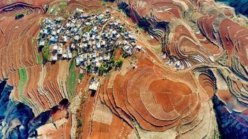 Vue aérienne de la terre rouge de Dongchuan