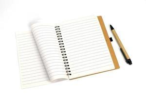 cahier à spirale avec et stylo