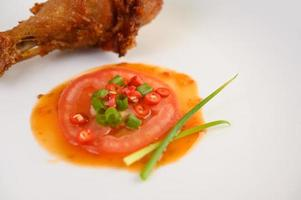cuisses de poulet frites avec sauce