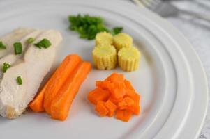 poitrine de poulet cuite à la vapeur sur une assiette blanche avec oignons nouveaux, maïs et carottes photo
