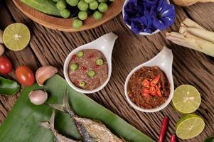 pâte de crevettes et maquereau, frites sur des feuilles de bananier avec piment, tomate et ail photo