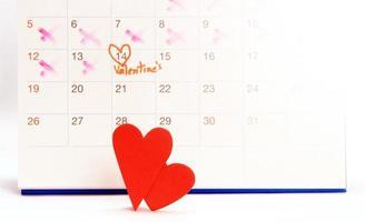 Calendrier du 14 février avec coeurs rouges photo
