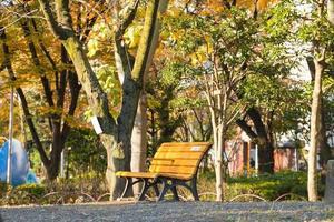 Banc dans le parc à tokyo, japon photo