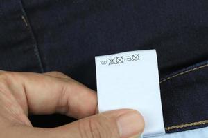 étiquette de directions de lavage photo