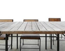 table et chaises sur fond blanc