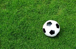 ballon de football sur la pelouse photo