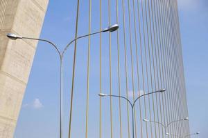 lampes disposées en rangée sous le pont