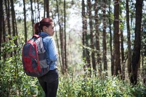 touriste avec sac à dos marchant dans la forêt
