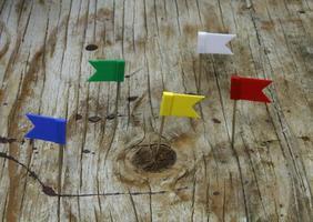 drapeaux sur bois