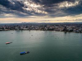 Vue aérienne de la plage de Pattaya, Thaïlande