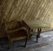 chaise et table à l'extérieur