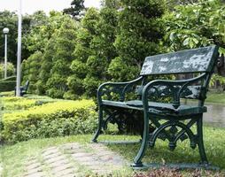 banc dans un parc verdoyant