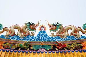 toit de statue de dragon en thaïlande