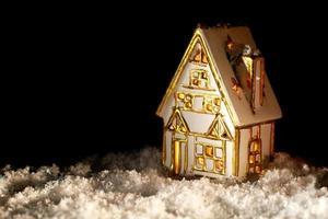 maison décorative or et argent dans la neige photo
