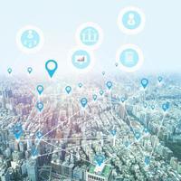 ville avec des icônes de connexion photo