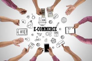vue de dessus d'une réunion de gens d'affaires avec l'icône de doodle. concept d'un travail d'équipe commercial. photo