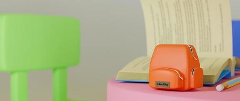 Rendu 3D de fournitures scolaires