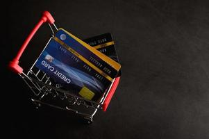 carte de crédit placée sur le panier pour payer le produit photo