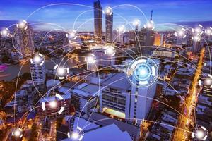 réseau internet et concept de technologie de connexion photo