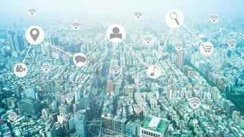 carte de connexion sociale d'une ville photo