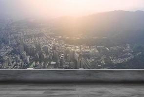 toit et fond de paysage urbain photo