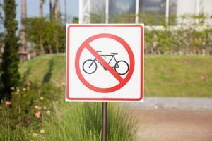 signe de vélo dans le parc photo