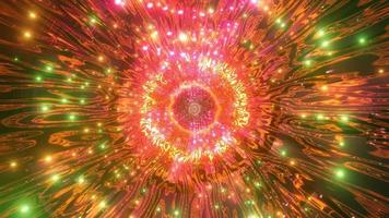 Lumières et formes orange, vertes, rouges et blanches dans l'illustration 3d de kaléidoscope pour le fond ou le papier peint