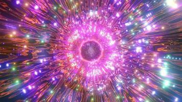 Lumières et formes orange, vertes et roses en illustration 3d kaléidoscope pour fond ou fond d'écran