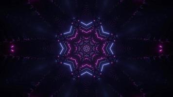 lumières colorées et formes kaléidoscope illustration 3d pour fond ou papier peint