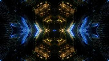lumière colorée et formes kaléidoscope illustration 3d pour le fond ou le papier peint photo