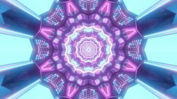 lumières bleues, violettes et blanches et formes illustration 3d kaléidoscope pour le fond ou le papier peint photo