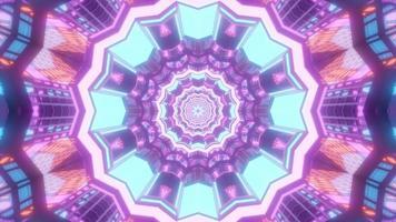 lumières bleues, roses, violettes et blanches et formes illustration 3d kaléidoscope pour le fond ou le papier peint photo