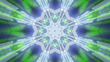 lumières bleues, vertes et blanches et formes illustration 3d kaléidoscope pour le fond ou le papier peint