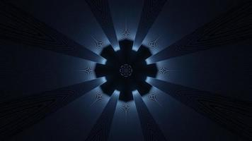lumières bleues, noires et blanches et formes kaléidoscope illustration 3d pour le fond ou le papier peint photo